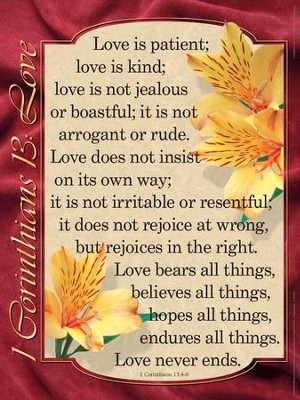 Catholic: 1 Corinthians 13: Love - Laminated Poster   -