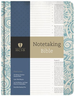 HCSB Notetaking Bible, Blue Floral Cloth  -