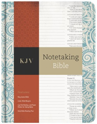 KJV Notetaking Bible, Blue Floral Cloth  -