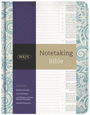 NKJV Notetaking Bible, Blue Floral Cloth  -