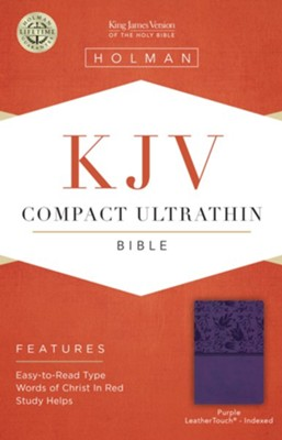 KJV Compact Ultrathin Reference Bible, Purple LeatherTouch, Thumb-Indexed  -