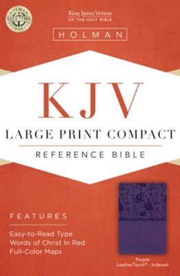 KJV Large Print Compact Reference Bible, Purple LeatherTouch, Thumb-Indexed  -