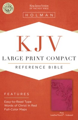 KJV Large Print Compact Reference Bible, Pink LeatherTouch, Thumb-Indexed  -