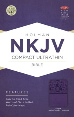 NKJV Compact Ultrathin Bible, Purple LeatherTouch, Thumb-Indexed  -