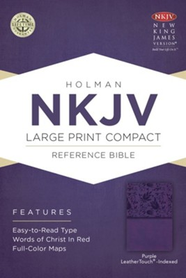 NKJV Large Print Compact Reference Bible, Purple LeatherTouch, Thumb-Indexed  -
