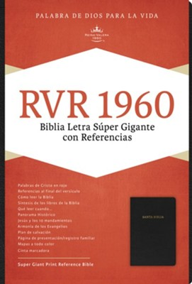 RVR 1960 Biblia Letra S&#250per Gigante, negro piel fabricada con &#237ndice, RVR 1960 Super Giant Print Bible, Black Bonded Leather, Thumb-Indexed  -