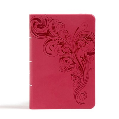 CSB Large Print Compact Reference Bible, Pink LeatherTouch  -