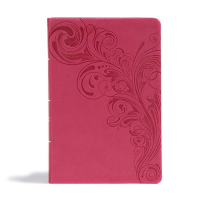 CSB Giant Print Reference Bible, Pink LeatherTouch  -