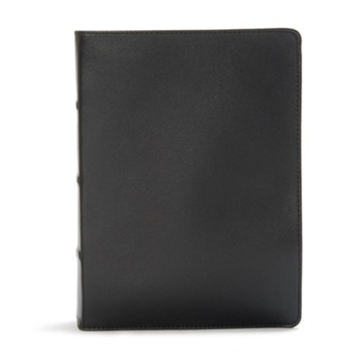 CSB Study Bible, Black Premium Leather, Thumb-Indexed  -