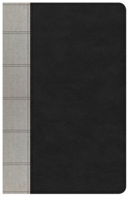 NKJV Large Print Personal Size Reference Bible, Black & Gray Deluxe LeatherTouch  -