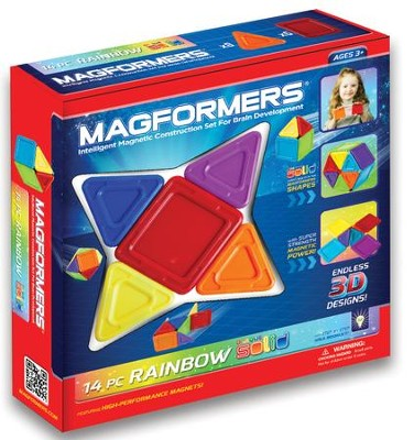 Magformers Rainbow Solids, Opaque, 14 Pieces  -