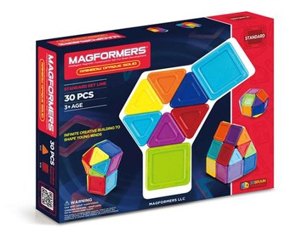 Magformers Rainbow Solids, Opaque, 30 Pieces  -