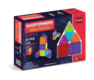 Magformers Rainbow Solids, Opaque, 40 Pieces  -
