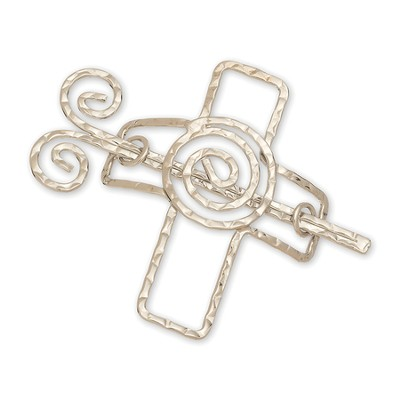 Coil Cross Scarf Accent, Silver, Round  -