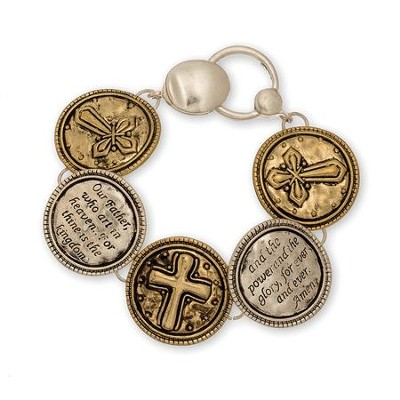 Lord's Prayer-Magnet Bracelet, Gold And Silver  -