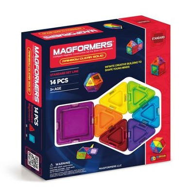 Magformers Rainbow Solids, Clear, 14 Pieces  -