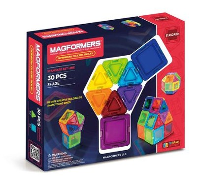 Magformers Rainbow Solids, Clear, 30Pieces  -