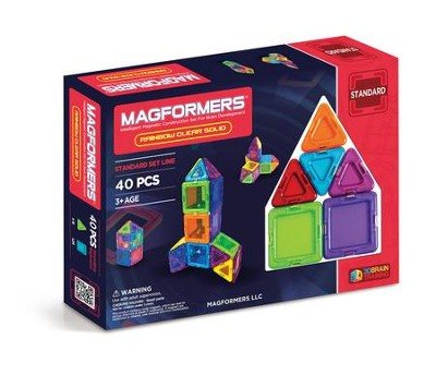 Magformers Rainbow Solids, Clear, 44 Pieces  -