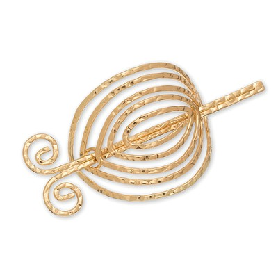 Open Swirl Circle Scarf Accent, Gold  -