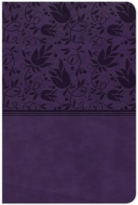 CSB Compact Ultrathin Reference Bible, Purple LeatherTouch  -