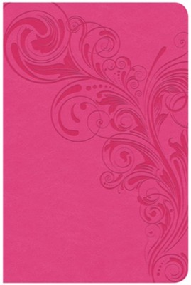 CSB Compact Ultrathin Reference Bible, Pink LeatherTouch, Thumb-Indexed  -