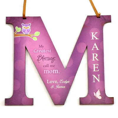 Personalized, Letter M With Owl, My Greatest Blessings Call Me Mom, Purple  -