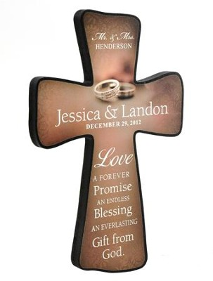 Personalized, Wedding Cross With Double Rings, Small   -