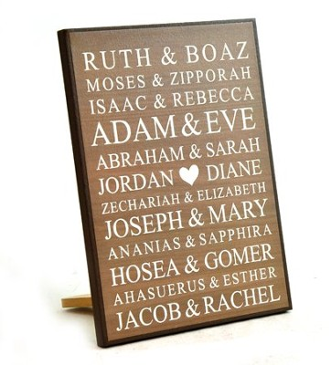 Personalized, Lithograph Plaque, Bible Names, Small Brown  -