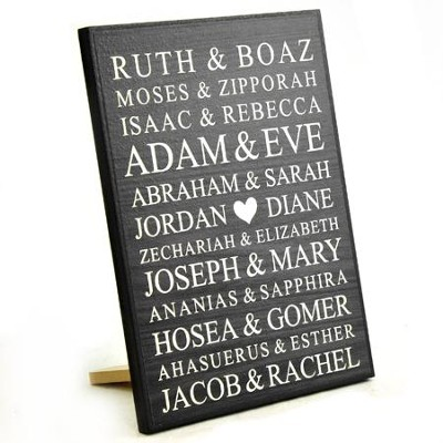 Personalized, Lithograph Plaque, Bible Names, Small,   Black  -