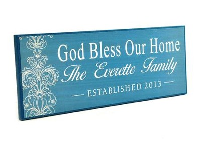 Personalized, Lithograph Plaque, God Bless Our Home,   Long, BLue  -