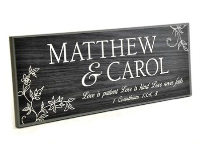 Personalized, Lithograph Plaque, Love Never Fails,  Long, Black  -