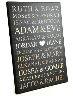 Personalized, Large Plaque with Bible Names, Black    -