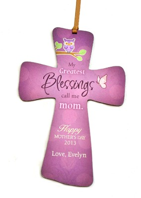 Personalized, Mini Cross with Owl, My Greatest   Blessings, Call Me Mom, Purple  -