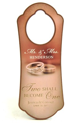 Personalized, Door Hanger, With Double Rings, Two  Become One  -