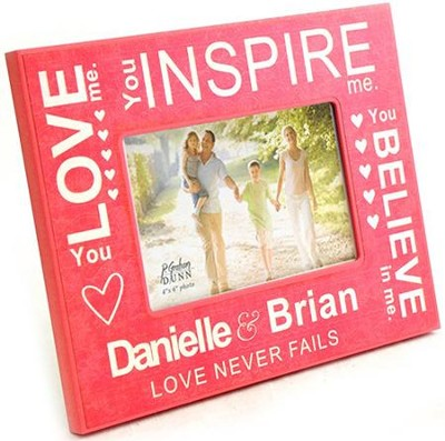 Personalized, Photo Frame, Love Never Fails, Pink   -