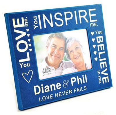 Personalized, Photo Frame, Love Never Fails, Blue   -