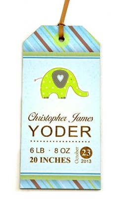 Personalized, Gift Tag with Elephant, Baby Boy, BLue   -