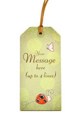 Personalized, Gift Tag with Ladybug, Personal Message, Green  -
