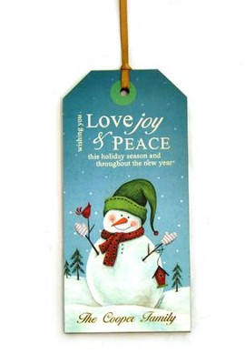 Personalized, Gift Tag with Snowman, Love Joy and Peace   -