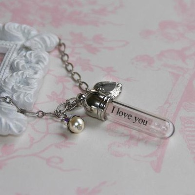I Love You Dearly, Message In A Bottle Necklace  -