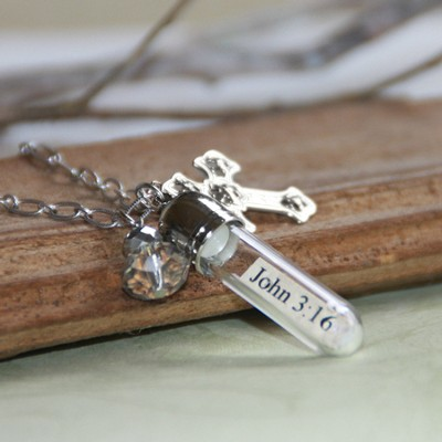 John 3:16, Message In A Bottle Necklace  -