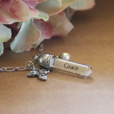 Grace, Message In A Bottle Necklace  -
