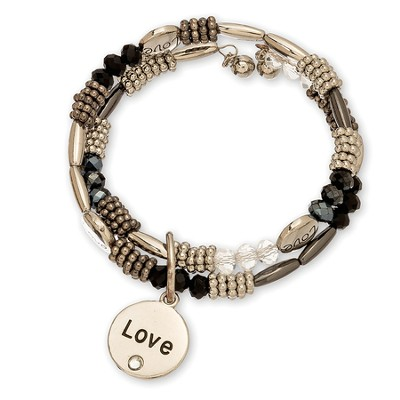 Love, Beaded Wrap Bracelet, Black and Silver  -