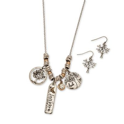 Inspire Charms Necklace and Earrings Set  -