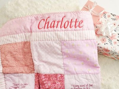 Embroidered Scripture Quilt, Pink   -