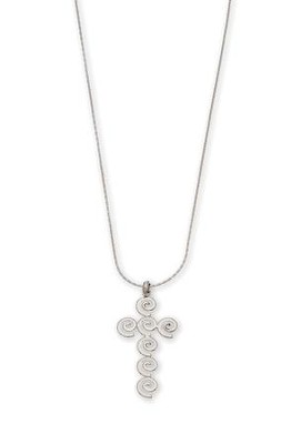 Swirl Cross Pendant Necklace  -