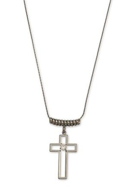 Coil Top Hematite Cross Pendant Necklace  -