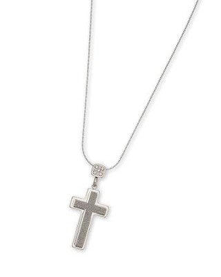 Stone Top Shimmer Cross Pendant Necklace  -