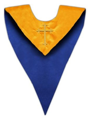 Gold Cross Embroidered Reversible Choir Stole, Blue / Gold (Set of 6)  -