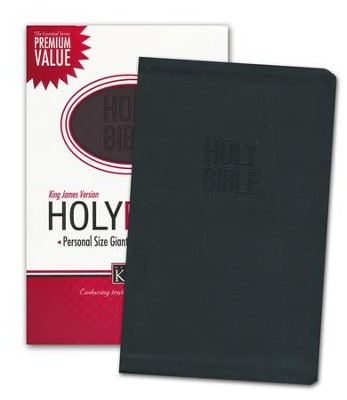 KJV Personal Size Giant Print Reference Bible, Leathersoft, black  -